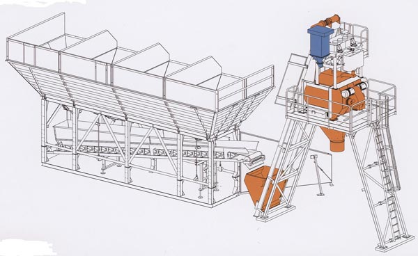 General layout of mobile concrete plant